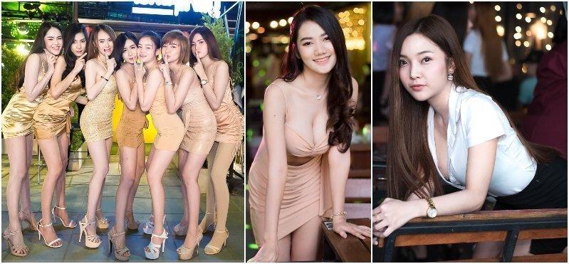 Gorgeous Thai girls working at Pai Kan Yai beer bar in Bangkok