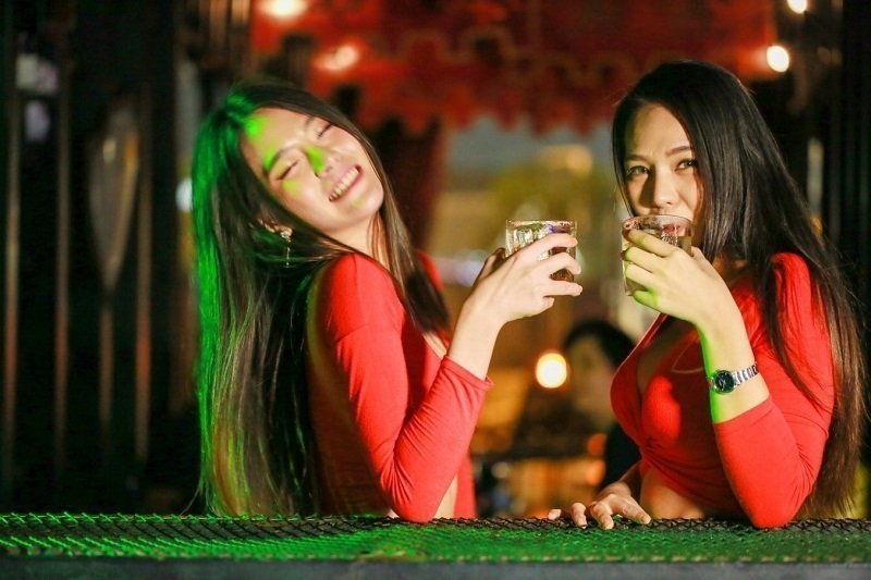 sexy thai girls drinking