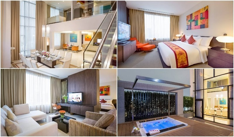 Interior and outdoor hot tub of the Presidential Suite at Aetas Bangkok