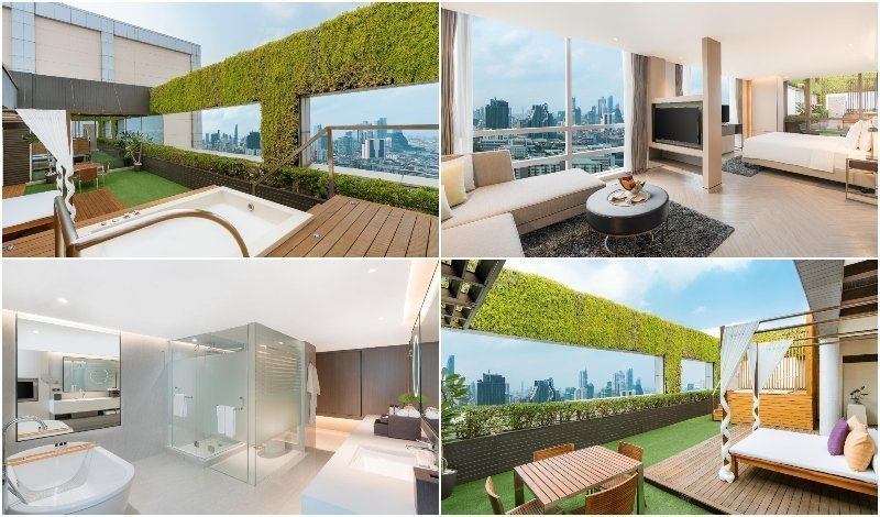 Interior and outdoor space of the Horizon Terrace Suite at Pathumwan Princess Hotel in Bangkok