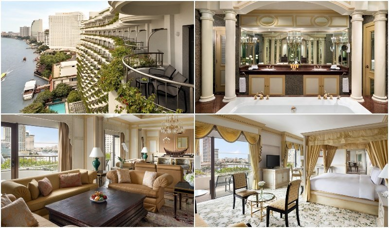 Interior and view from the Krungthep Wing Presidential Suite at Shangri-La Hotel Bangkok