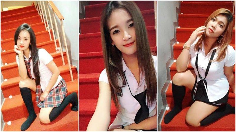 Asian girls in uniform at Bkk48 Massage Bangkok