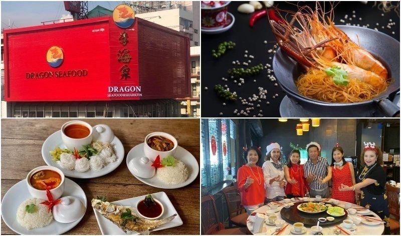 exterior dishes and guests at Dragon Seafood restaurant in Bangkok