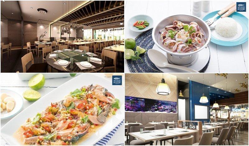 Dishes and interior of Laem Charoen Seafood in Bangkok