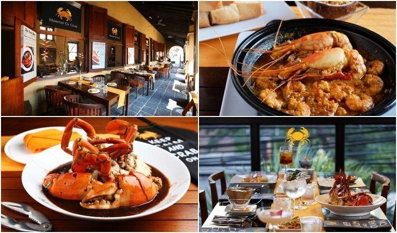Dishes and interior of Ministry of Crab Bangkok