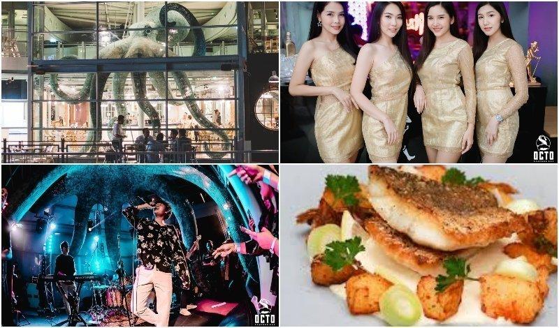Building event girls and dish at Octo Seafood Bar in Bangkok sukhumvit soi 24
