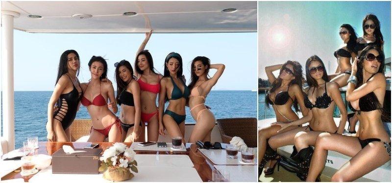 hot girls in bikini on a yacht