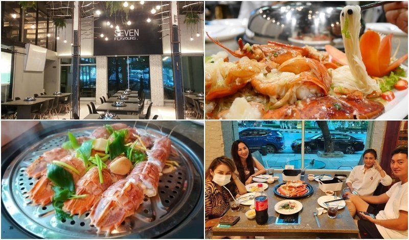 Interior and seafood dishes at Seven Flavours restaurant in Bangkok