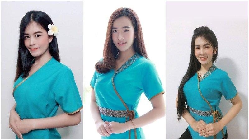 Thai masseuses from Similan Thai Massage Bangkok wearing their blue uniform