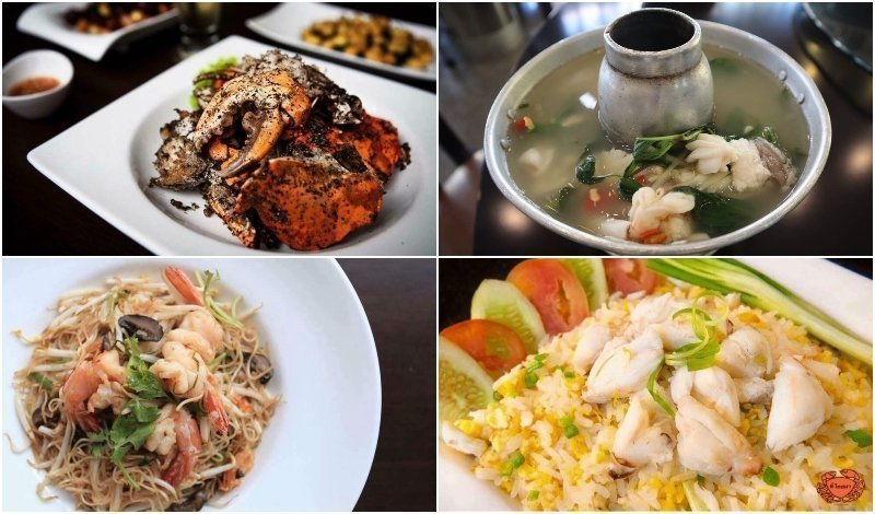 seafood dishes from T Pochana restaurant in Bangkok