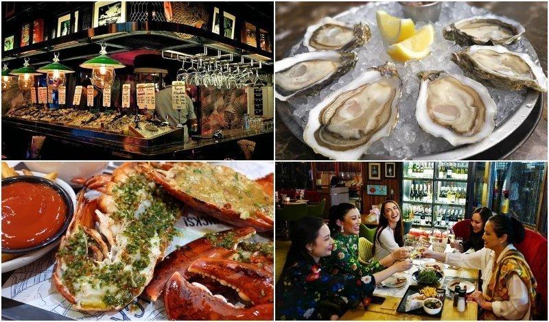 Interior and dishes of The Raw Bar Bangkok