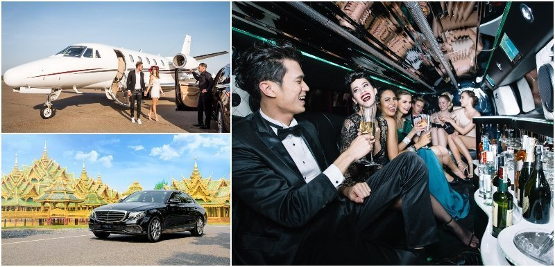 Montage of a private jet a luxury limousine and people partying inside a stretch limousine
