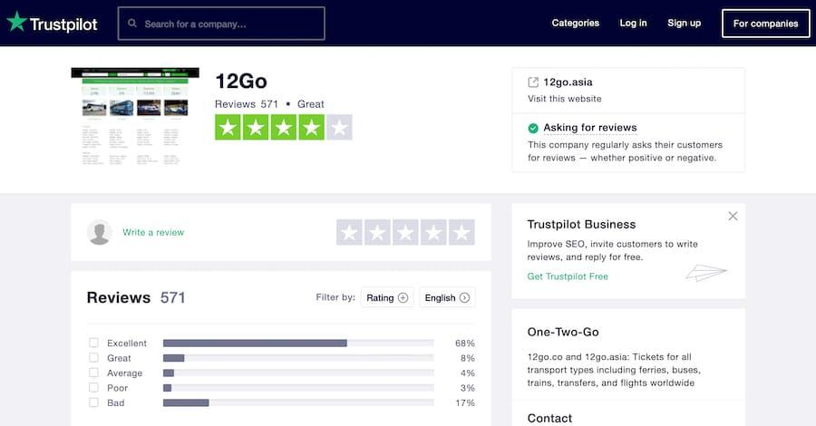 12go asia reviews on Trustpilot