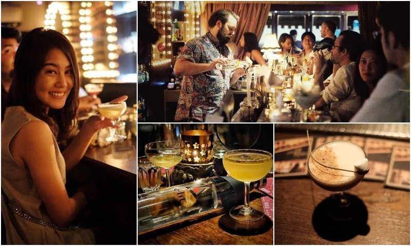 People drinking cocktails at Backstage Cocktail Bar in Thonglor Bangkok