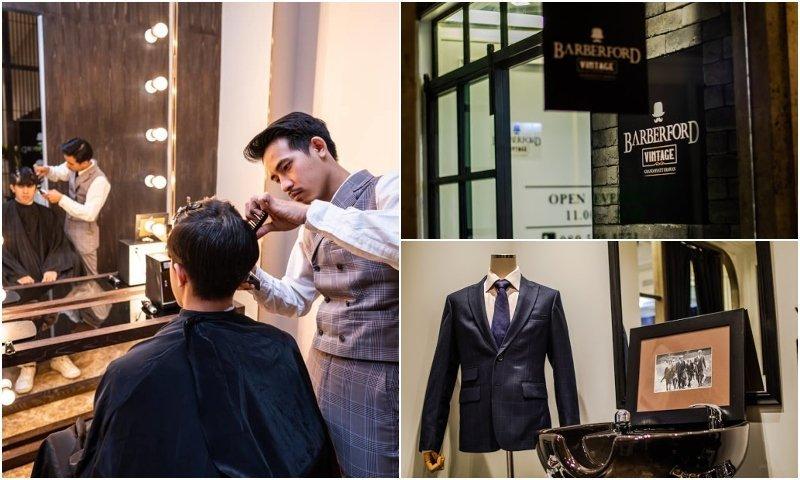 Man getting a haircut at Barberford barber shop in Bangkok