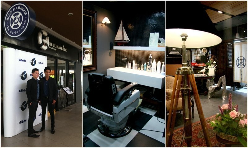 Interior and exterior of Blue Harbour barber shop in Bangkok