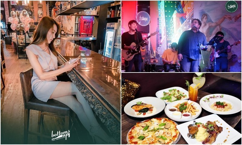 Live band Thai girl and food at Bottoms Up bar in Thonglor Bangkok