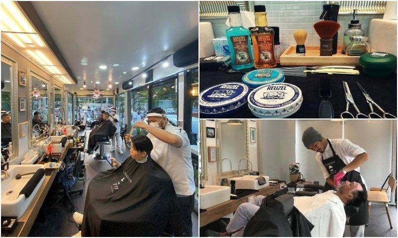 Men haircut and shave at Crossroads Barbers in Bangkok