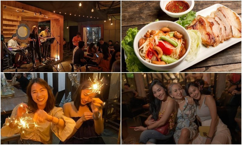 Live band Thai food and Thai girls smiling at Escape Ekkamai 12 bar in Bangkok