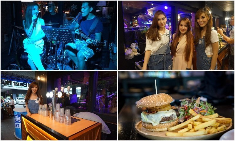 Live singer Thai girls and burger at Ekamai Beer House in Bangkok