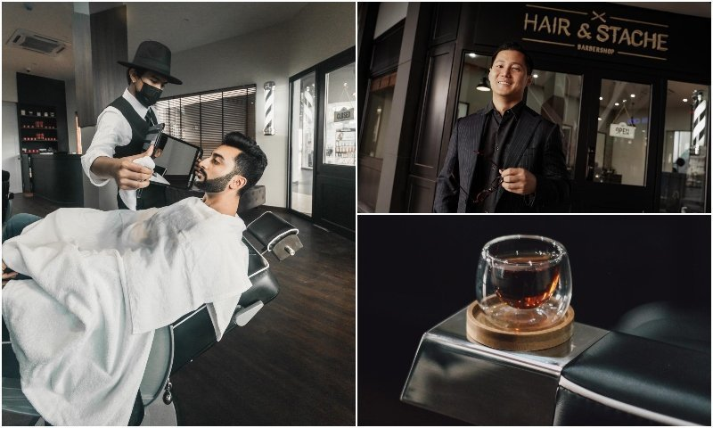 Men haircut shave and coffee at Hair and stache barbershop in Bangkok