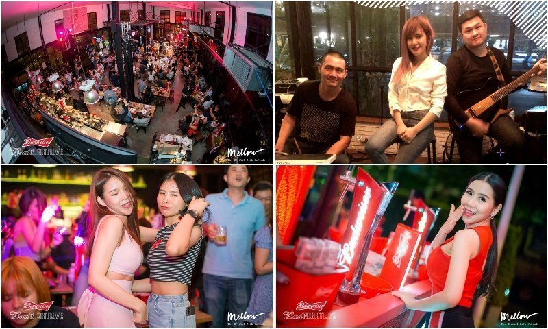 Inside Mellow Bangkok with live band Thai girls and beer hostess