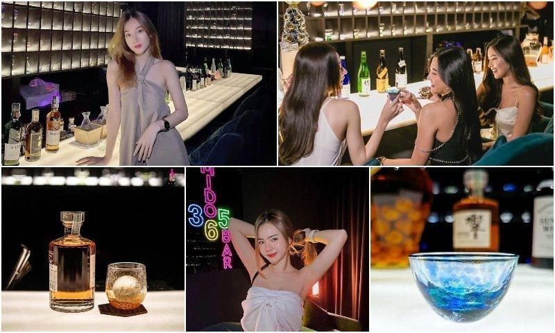 Thai girls and whisky at Mido 365 Bar in Thonglor Bangkok