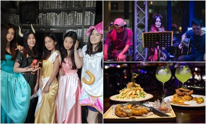 Thai girls in costume live band and food from Mocking Tales bar in Thonglor