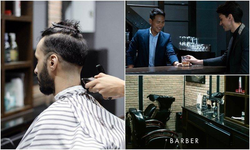 Men haircut and drink at Parrish Jones barber shop in Sukhumvit Bangkok