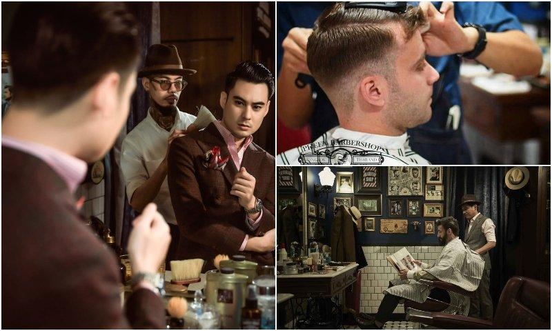 Men getting haircut at Pheen Barber Shop in Bangkok