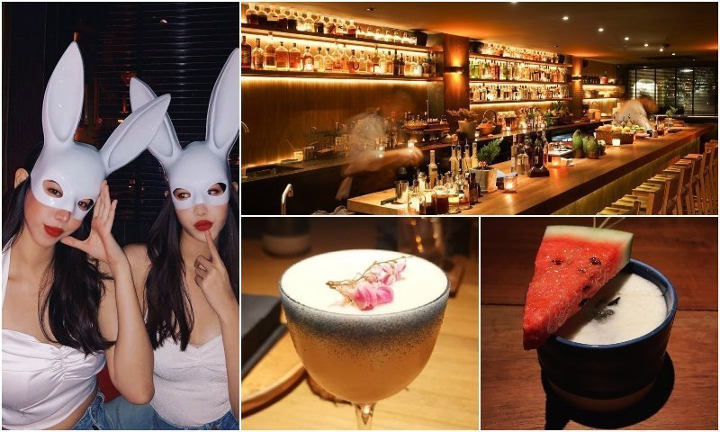 Cocktails and Thai girls with bunny ears at Thaipioka cocktail bar in Thonglor Bangkok