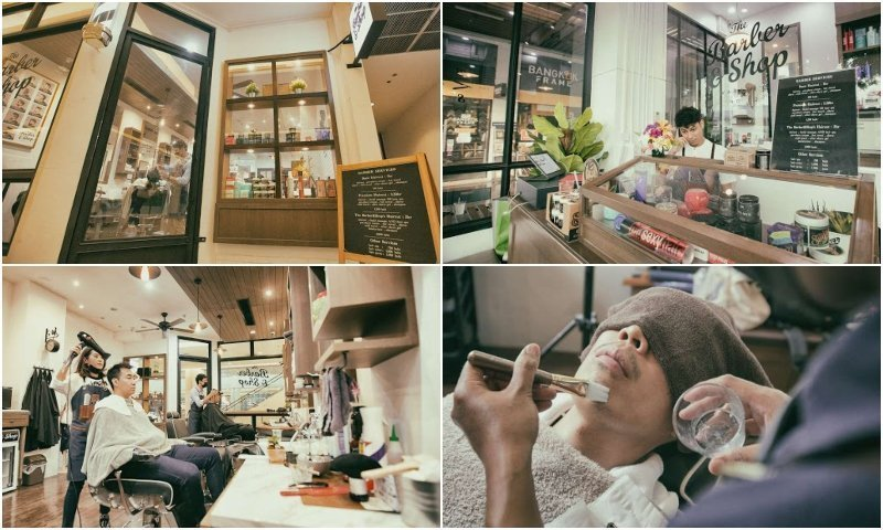 Men haircut and shave at The Barber & Shop Warate's in Bangkok