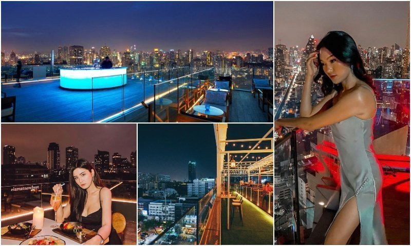 Thai girl and view from rooftop bars in Thonglor Bangkok