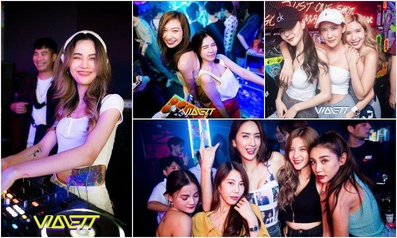 Female DJ and Thai girls at VIOLETT club in Thonglor Bangkok