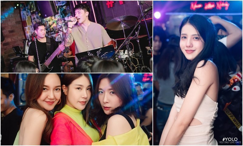 Live music and beautiful Thai girls at Yolo Ekkamai bar in Bangkok