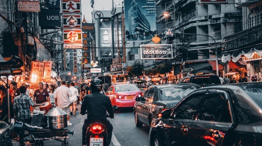 Bangkok building and cars