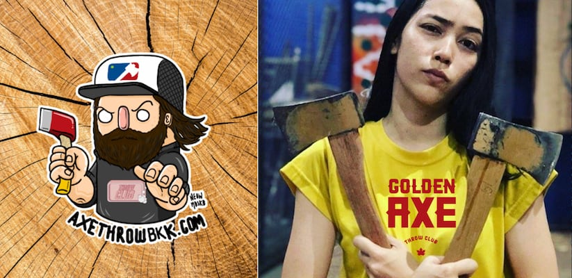 Thai girl with axes at Golden Axe Throw Club in Bangkok