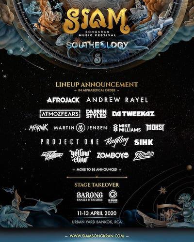 Siam Songkran music festival lineup 2020