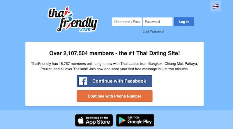 ThaiFriendly signup page