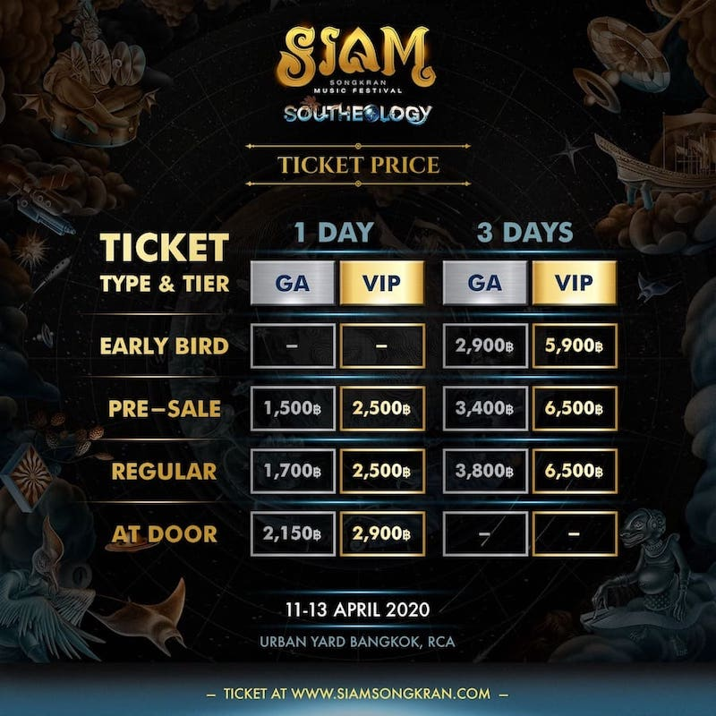tickets prices of Siam Songkran 2020 music festival