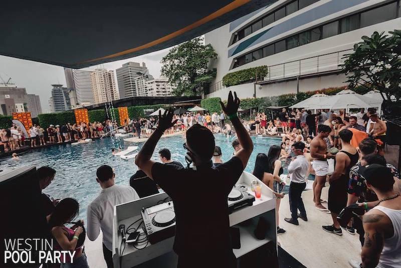 DJ at westin pool party in Bangkok