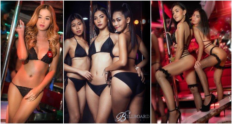 Girls at Billboard gogo bar in Nana Plaza Bangkok