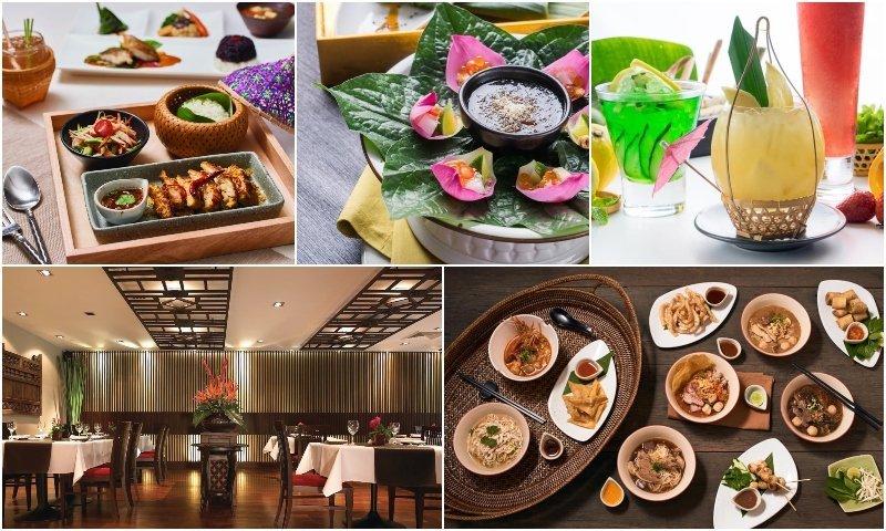 Dished drinks and interior of Patara restaurant in Thonglor Bangkok