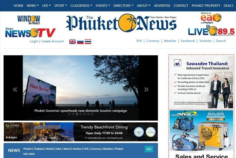 front page of the Phuket News online newspaper in Thailand
