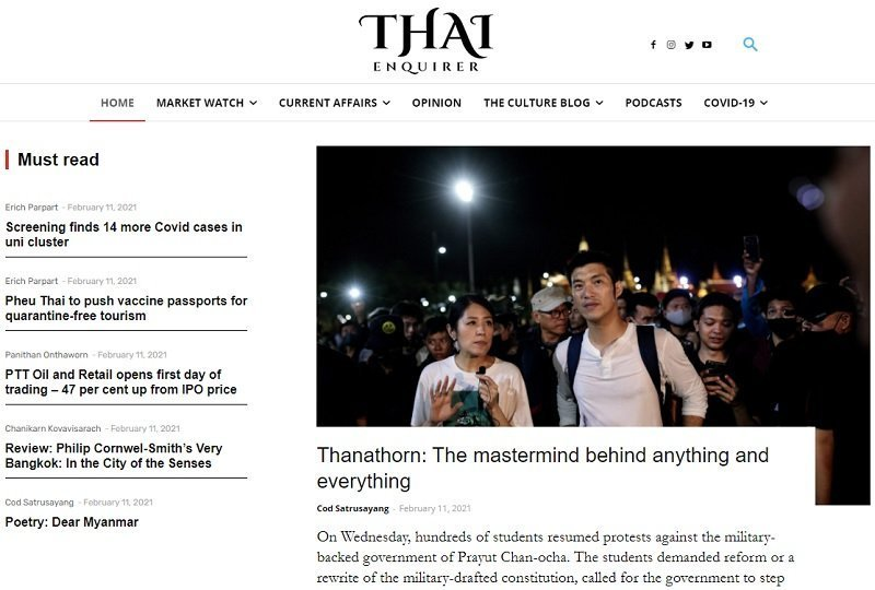 homepage of Thai Enquirer online magazine in English