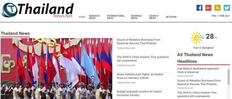 homepage of Thailand News Net online magazine in English covering Thailand