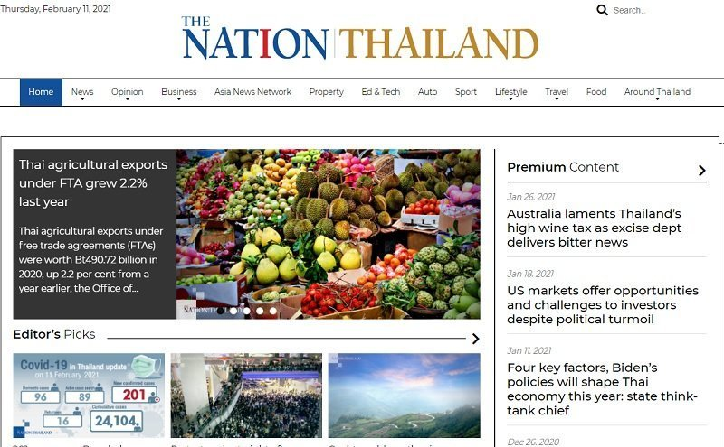 front page of The Nation Thailand online website in English