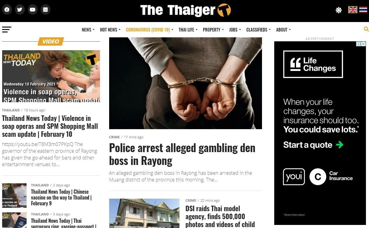 homepage of The Thaiger online newspaper in English about Thailand