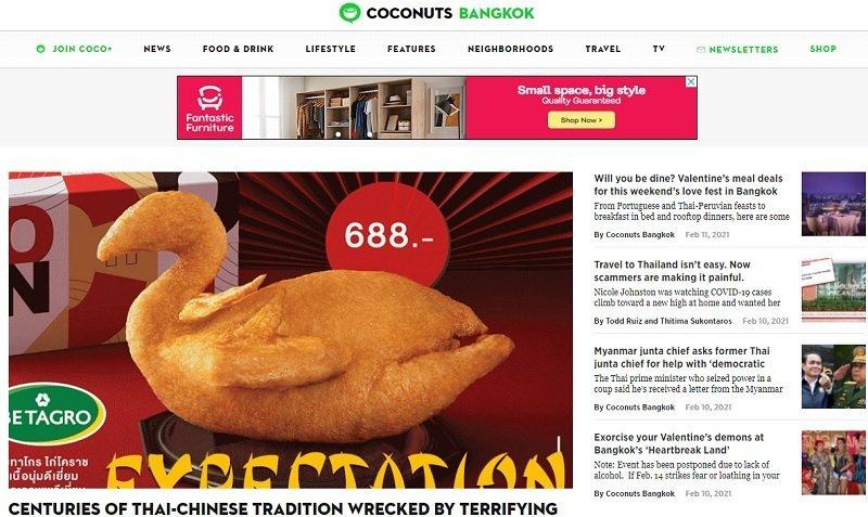 homepage of Coconuts Bangkok online magazine