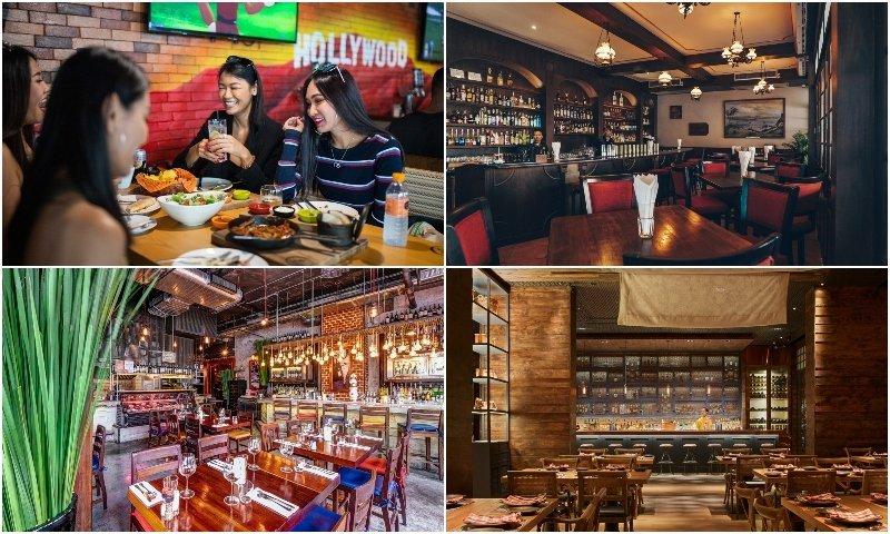 interiors and people eating at restaurants in Soi 11 Bangkok